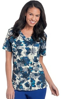 Landau Women's Rounded V-Neck Floral Print Scrub Top