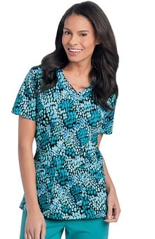 Landau Women's Rounded V-Neck Abstract Print Scrub Top