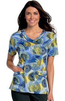 Landau Women's Rounded V-Neck Geometric Print Tunic Scrub Top