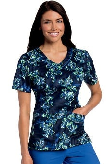 Landau Women's Rounded V-Neck Floral Print Tunic Scrub Top