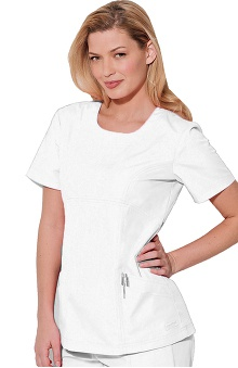 Clearance Landau Women's Antimocrobial Scoop Neck Solid Scrub Top