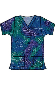 Clearance Landau Women's V-Neck Tunic Classic Fit Finger Paint Print Scrub Top