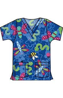Landau Women's V-Neck Tunic Classic Fit Garden Party Galaxy Print Scrub Top