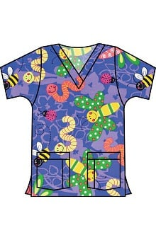 Landau Women's V-Neck Tunic Classic Fit Garden Party Iris Print Scrub Top