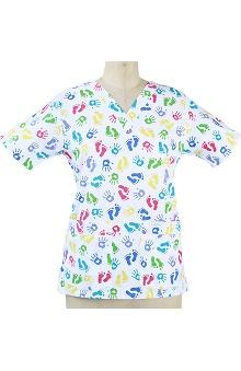 Landau Women's V-Neck Tunic Style Print Scrub Top