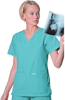 MED: Landau Women's 4-Pocket V-Neck Classic Fit Solid Scrub Top