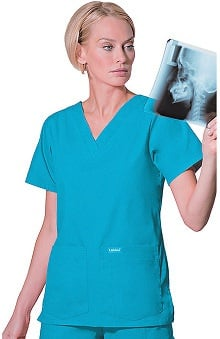 Scrubs: Landau Women's 4-Pocket V-Neck Classic Fit Solid Scrub Top