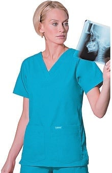 2XL: Landau Women's 4-Pocket V-Neck Classic Fit Solid Scrub Top