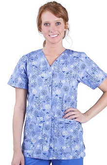 Landau Women's 4-Pocket V-Neck Snap Front Classic Fit Bird Print Scrub Top