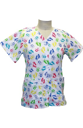 Clearance Landau Women's Snap Front V-Neck Hand Print Tunic Scrub Top