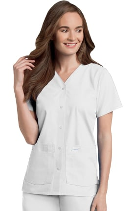 Landau Women's Snap Front 4-Pocket V-Neck Solid Scrub Top