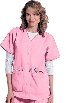 Clearance Landau Women's 4-Pocket V-Neck Snap Front Classic Fit Solid Scrub Top