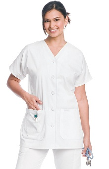 Clearance Landau Women's V-Neck Button Front Tunic Solid Scrub Top