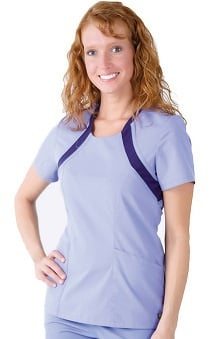 Urbane Essentials Women's Scoop Neck Solid w/Contrast Scrub Top