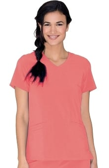 Clearance Urbane Performance Women's Motivate V-Neck Solid Scrub Top with Tonal Stitching