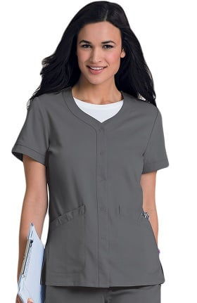 Urbane Ultimate Women's Megan Snap Front Solid Scrub Top