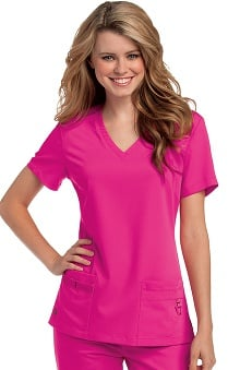Urbane Ultimate Women's V-Neck Shoulder Yoke Solid Scrub Top