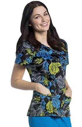 Urbane Women's Mock Wrap Floral Print Tunic Scrub Top