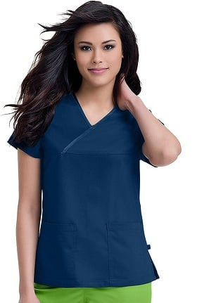 Clearance Urbane Ultimate Women's Mandi Crossover Solid Scrub Top