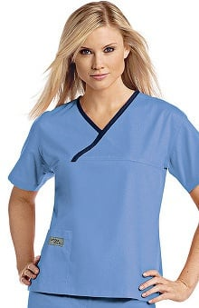 XXS: Urbane Women's Essentials Crossover Solid Scrub Top