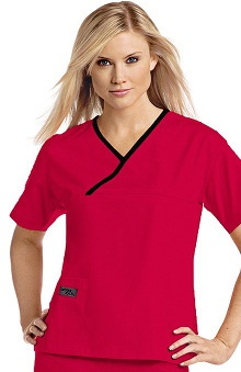 Urbane Essentials Women's Crossover Solid Scrub Top