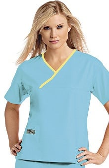 Clearance Urbane Essentials Women's Crossover Solid Scrub Top