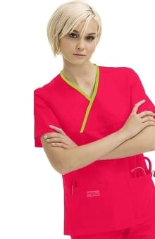 Clearance Urbane Essentials Women's 2-Pocket Crossover Solid Scrub Top