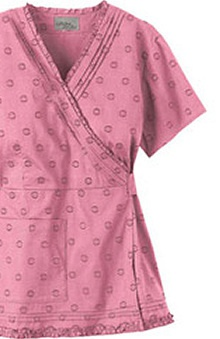 Urbane Essentials Women's Ruffled Faux Wrap Dot Print Scrub Tunic