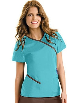 Urbane Essentials Women's Wrap Around Solid Scrub Top