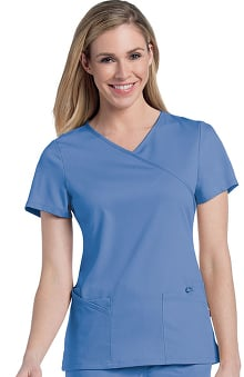 pink ribbon scrubs: Urbane Ultimate Women's Sophie Crossover Solid Scrub Top