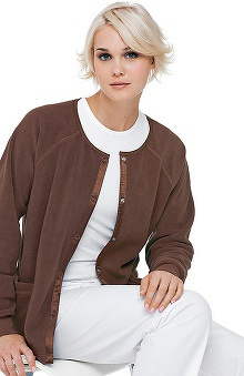 Urbane Essentials Women's Fleece Solid Scrub Jacket