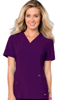Smitten Women's V-Neck Solid Scrub Top