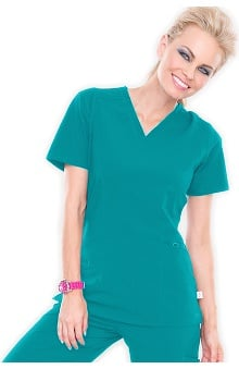 Clearance Smitten Women's V-Neck Solid Scrub Top with Knit Neck Band