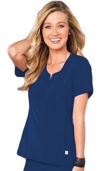 Clearance Smitten Women's Angel Rock Notch Neck Solid Scrub Top