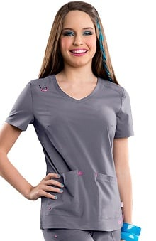 Clearance Smitten Women's Rumor V-Neck Solid Scrub Top
