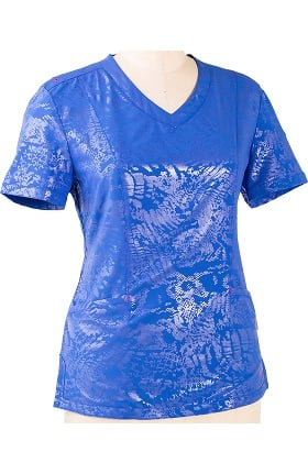 "Clearance Smitten Women's V-Neck ""Wicked"" Princess Seam Animal Print Scrub Top"