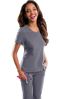 Clearance Smitten Women's Stardust Surplice Solid Scrub Top