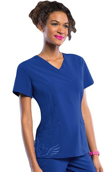 Smitten Women's V-Neck Tattoo Tunic Scrub Top