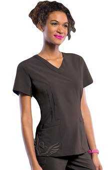 Clearance Smitten Women's V-Neck Tattoo Tunic Scrub Top
