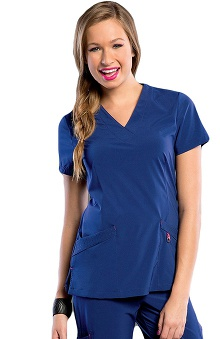 Clearance Smitten Women's V-Neck Crossover Tunic Scrub Top