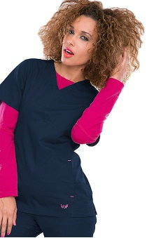 Clearance Smitten Women's V-Neck Yoke Solid Scrub Top