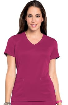 Bliss By Smitten Women's Surplice Stylized Solid Scrub Top