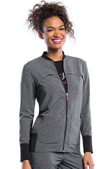 Clearance Smitten Women's Zip Front Rib Accent Scrub Jacket