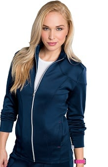 Bliss By Smitten Women's Zip Front Solid Scrub Jacket