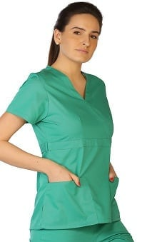 Classic by LifeThreads Women's Mock Wrap Solid Scrub Top