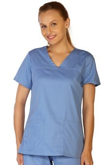 Contego by LifeThreads Women's V-Neck Stretch Solid Scrub Top