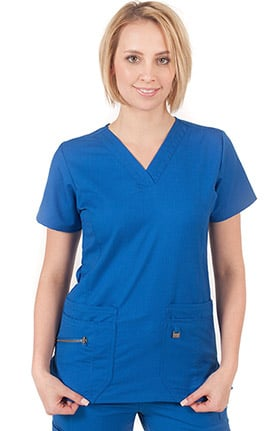 ERGO by LifeThreads Women's V-Neck Solid Scrub Top