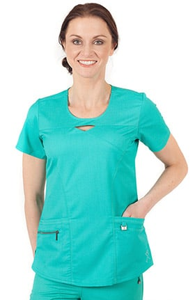 ERGO by LifeThreads Women's Round Keyhole Neck Solid Scrub Top