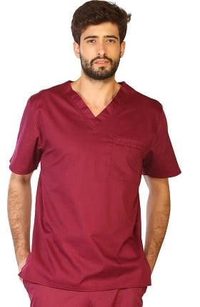 Contego by LifeThreads Unisex V-Neck Stretch Solid Scrub Top