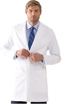 "Medelita Men's M3 J.Hunter Knot Button Classic Fit 37"" Lab Coat"